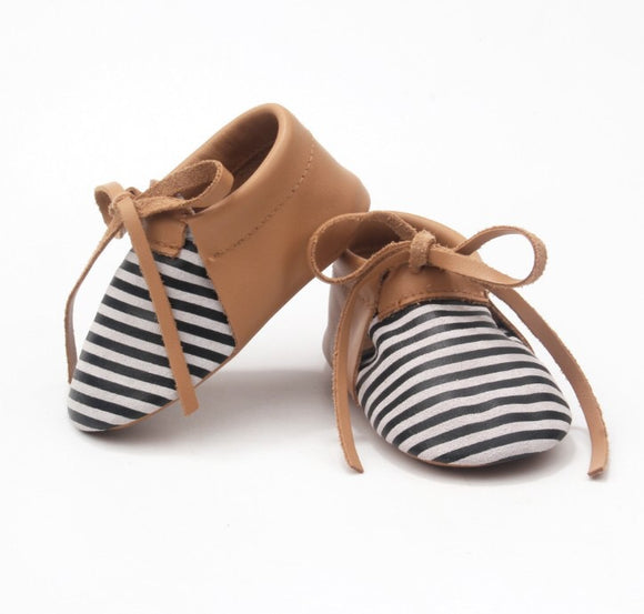 Stripe/Brown Moccs