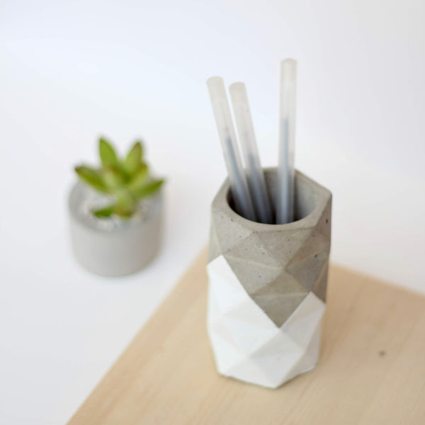 Geometric Faceted Vase with Pattern