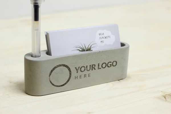 Personalized Business Card Holder with Pen Insert