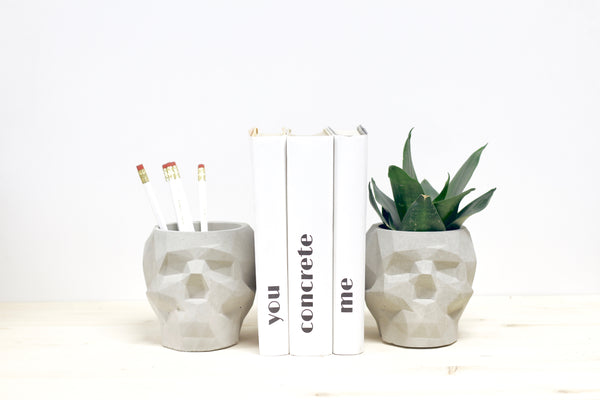 Large Skull Bookends