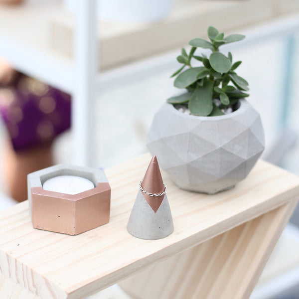 Hexagon Concrete Holder for Tea Lights, Airplants and More