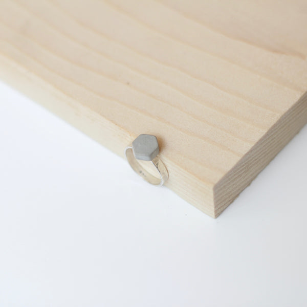 Concrete Hexagon Silver Ring
