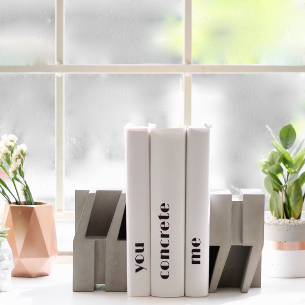 Quote Concrete Bookends