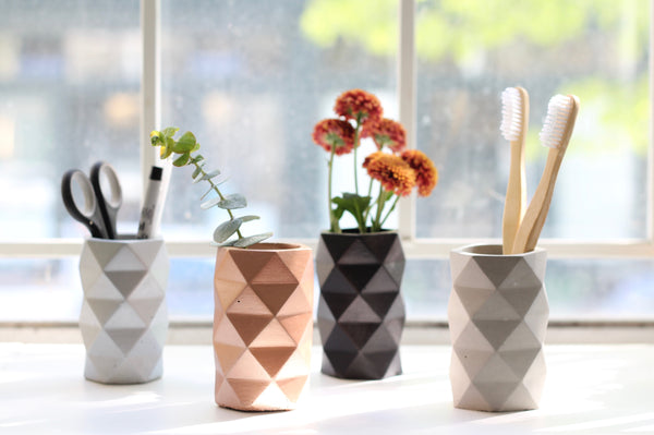 Geometric Faceted Vase Metallic