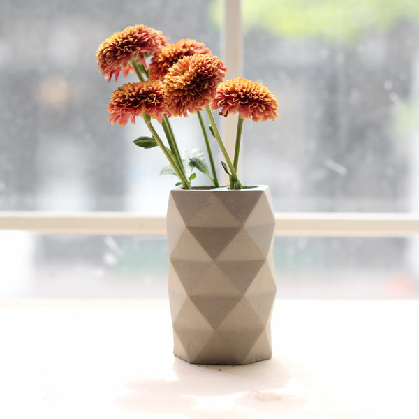 Geometric Faceted Vase Colour Blocked