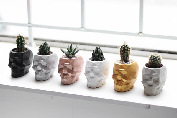 Geometric Skull Planter Metallic