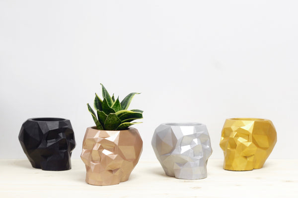 Large Skull Concrete Planter - Metallic