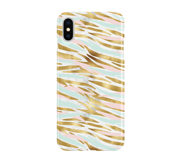 Mint Pink Gold Tiger Stripe - iPhone