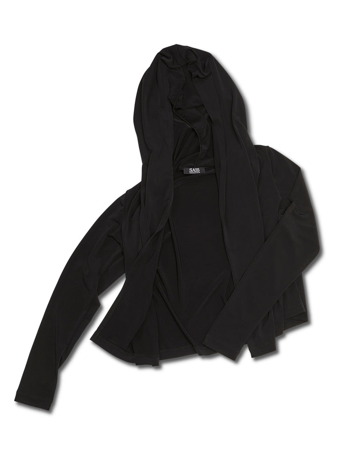Black cropped jacket, black women's cropped jacket, black jacket, black soft jacket, black hoodie, black women's cropped jacket, black hooded jacket, travel jacket, travel friendly, made in canada, wrinkle free, machine washable, black jacket with hood, black soft jacket, black cropped hooded jacket