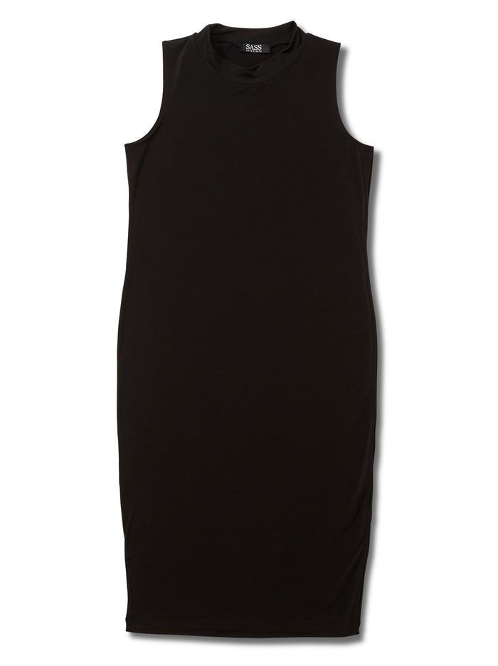 Black mock neck dress, black dress, black mock neck, black fitted dress, black women's mock neck dress, black women's dress, black essential dress, black women's essential dress, travel friendly, made in canada, wrinkle free, machine washable, mock neck, soft black dress, soft dress, black basic, little black dress