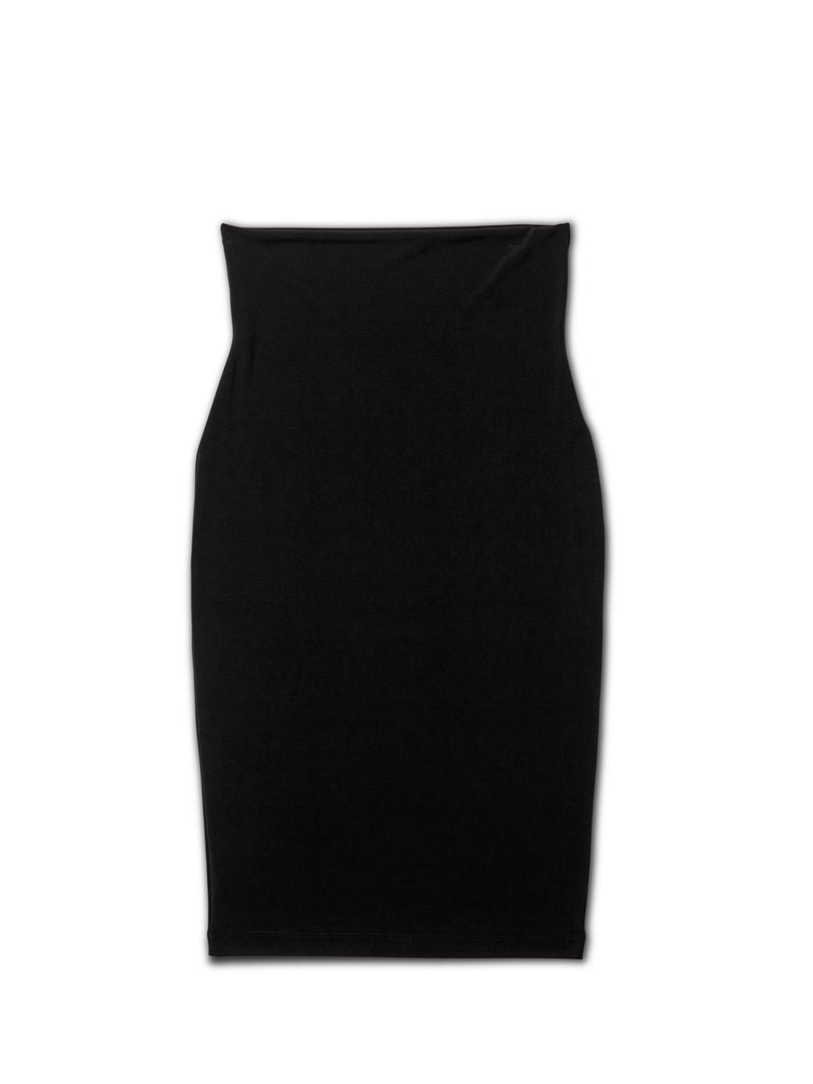 Black double tube pencil skirt, black pencil skirt, black women's skirt, black high waisted skirt, black tube skirt, black double lined skirt, black dress skirt, business skirt, black women's double tube pencil skirt, travel friendly, made in canada, wrinkle free, machine washable, stretchy skirt, black basic