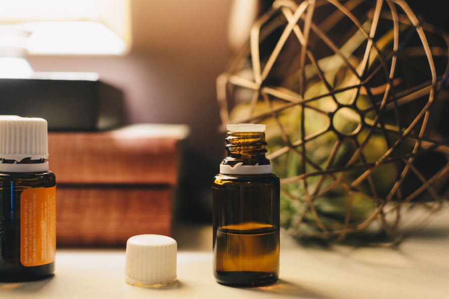 Essential Oil bottle on table