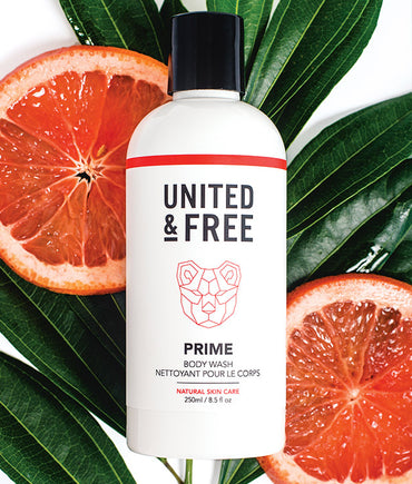 UNITED & FREE Skincare Prime Body Wash | Moisturizing shower gel made with vitamin E and Grapefruit to refresh and hydrate skin
