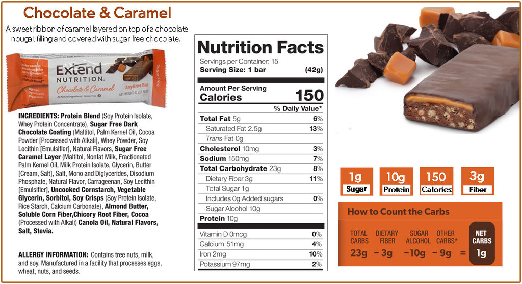 Extend Nutrition Chocolate and Caramel Bar Nutrition Facts