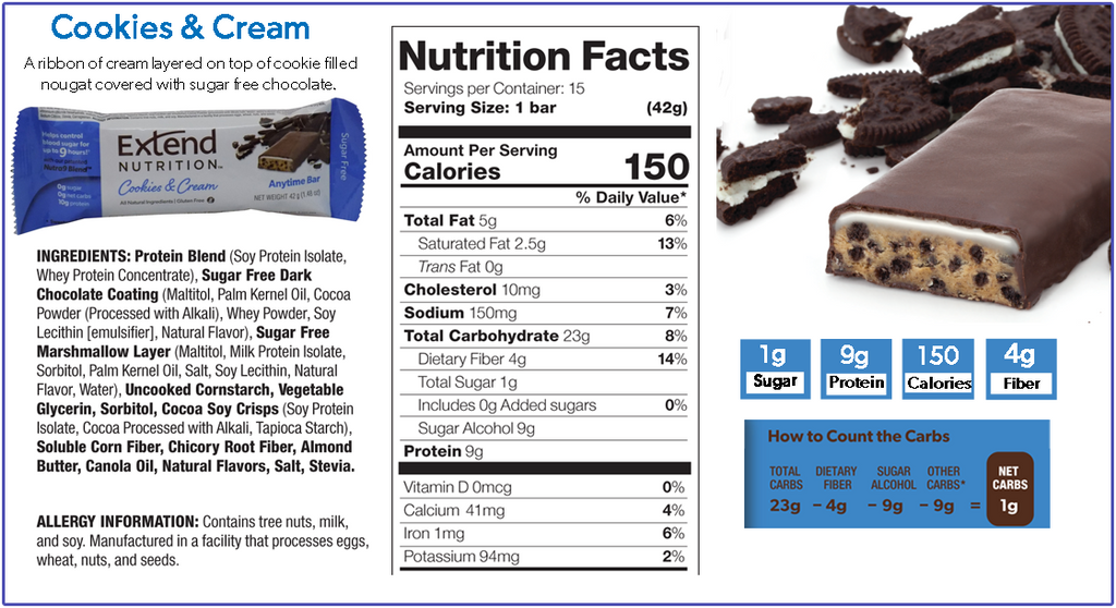 Extend Nutrition Cookies and Cream Bar Nutrition Facts