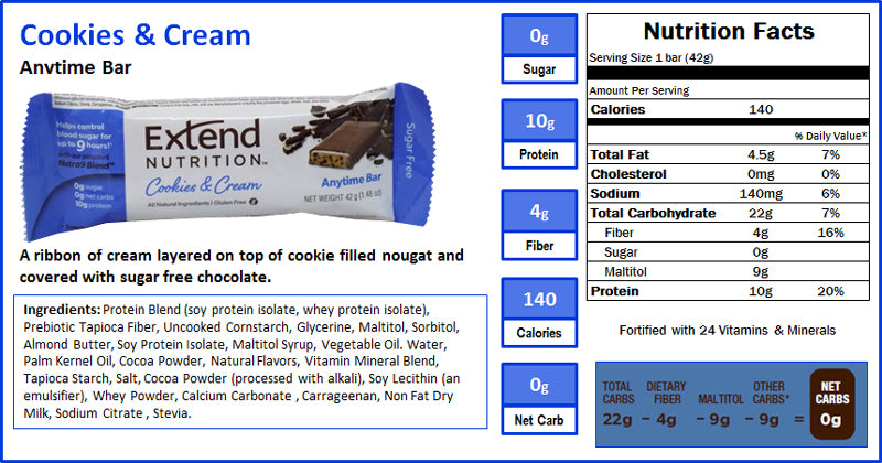 Cookies & Cream Nutrition Facts