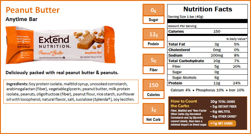 Extend Bar Peanut Butter Nutrition Facts