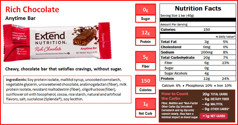 Extend Bar Chocolate Nutrition Facts