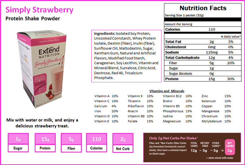 Simply Strawberry Shake Nutrition Facts