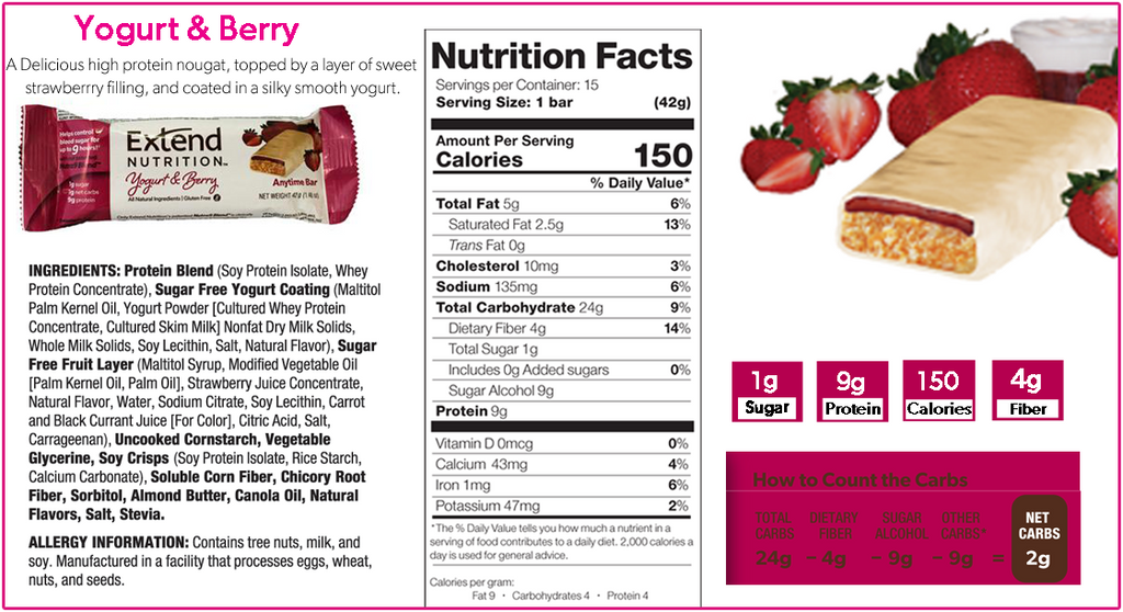 Extend Nutrition Yogurt & Berry Nutrition Facts