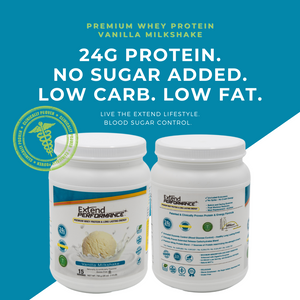 24g Protein, No Sugar Added, Low Carb & Low Fat Whey Protein  Vanilla Shake Powder