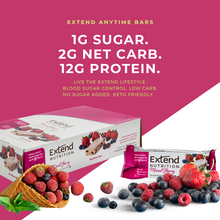 Load image into Gallery viewer, 12g Protein, 1g Sugar, 2g Net Carbs. Low Carb & Low Calorie Mixed Berry Protein Bars.
