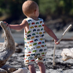 Baby & Toddler Organic Cotton Rompers - Handmade in Canada - Elephants