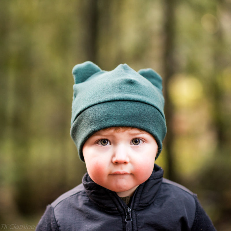 Felted Organic Merino Winter Bear Hat - in green