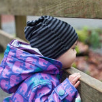 Kids & Adult Merino Wool Slouchies - Handmade in Canada - in Black Stripe