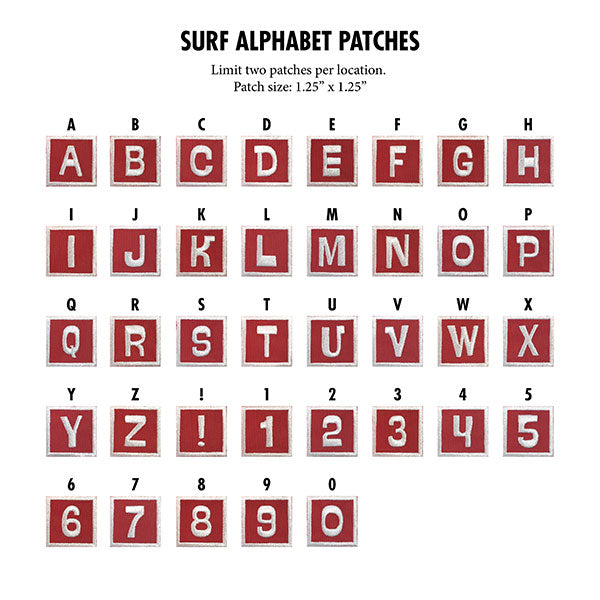 Surf Alphabet patches preview