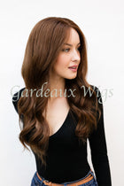 Color 6 Full Lace Silk Top 100% Human Hair Wig at Gardeaux Wigs