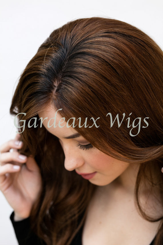 Color 6 Rooted Full Lace Silk Top 100% Human Remy Hair Wig at Gardeaux Wigs