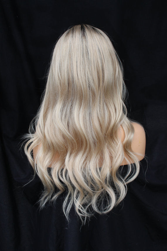Full Lace Silk Top Pale Blonde 100% human Remy Hair wig at Gardeaux Wigs