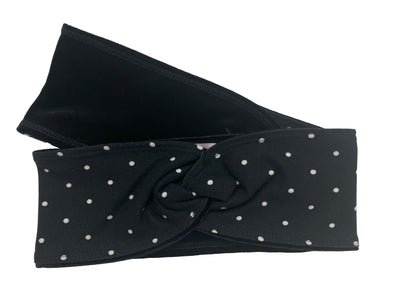 Knotted Polka Dot Print Headband (Black Velvet)