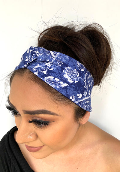 Knotted Blue Porcelain Print Headband