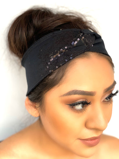 Black Sequined Knotted Headband