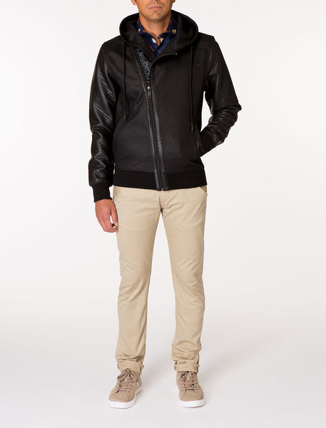 EMPEROR Asymmetric Knit Track Hooded Jacket