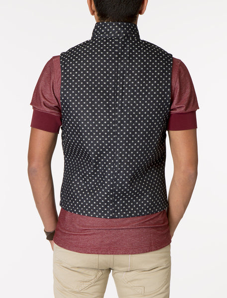 SATURN Denim Jacquard Polka Dot Vest