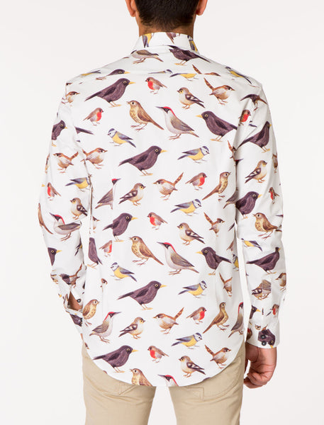 WALT Bird Print Long Sleeve Woven Shirt