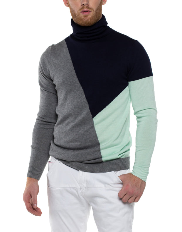 LUKE Turtle Neck Color Block Sweater