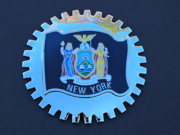 NEW YORK STATE FLAG AUTOMOBILE GRILLE BADGE EMBLEM