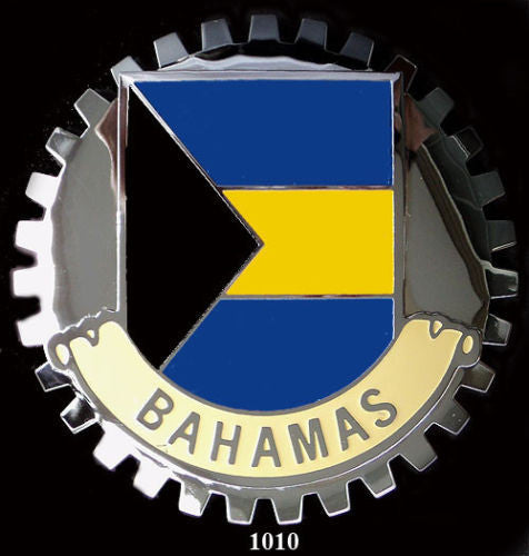 BAHAMA FLAG CAR GRILLE BADGE EMBLEM
