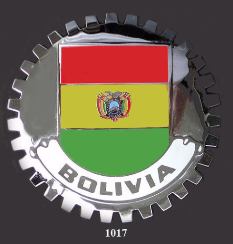 BOLIVIAN FLAG CAR GRILLE BADGE EMBLEM