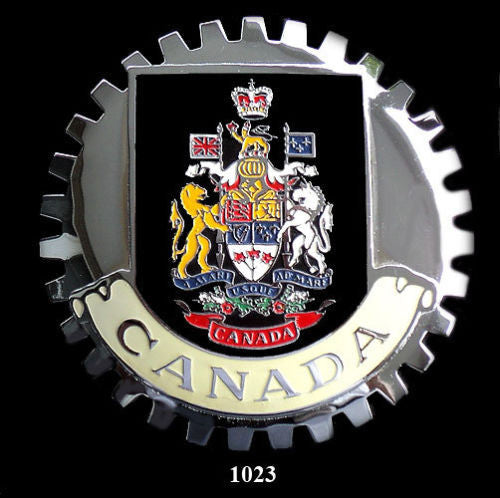 CANADIAN COAT OF ARMS CREST CAR GRILLE BADGE EMBLEM