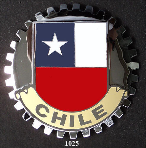 CHILE FLAG AUTOMOBILE GRILLE BADGE CAR EMBLEM