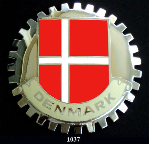 FLAG OF DENMARK CAR GRILLE BADGE EMBLEM