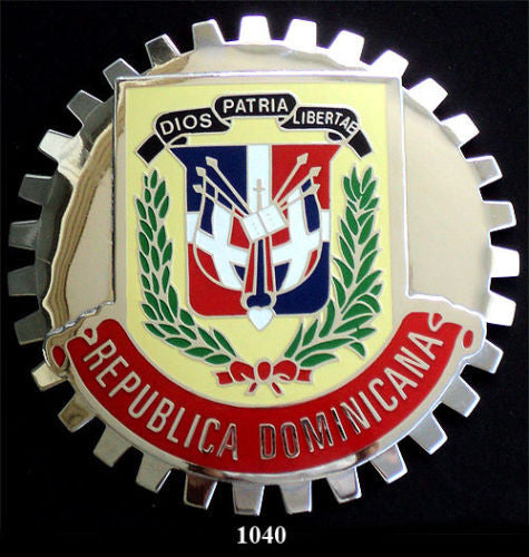 DOMINICAN REPUBLIC COAT OF ARMS CAR GRILLE BADGE EMBLEM