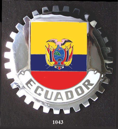 FLAG OF ECUADOR CAR BADGE GRILLE EMBLEM