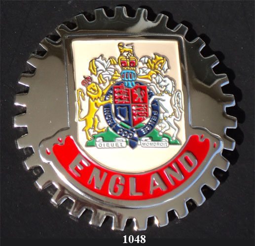 ENGLAND COAT OF ARMS CREST CAR GRILLE BADGE QUEEN