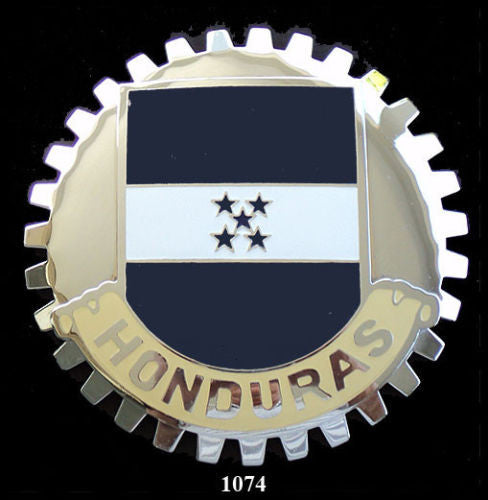 HONDURAS FLAG AUTOMOBILE GRILLE BADGE EMBLEM